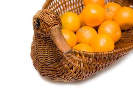 mandarines on the tray like goose isolated photo
