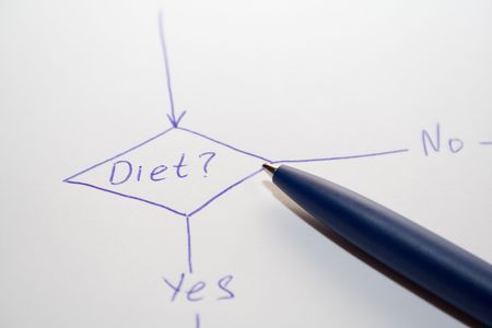 food questions: hard choise diet Stock Photo