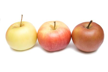 three apples on the whie isolated background photo