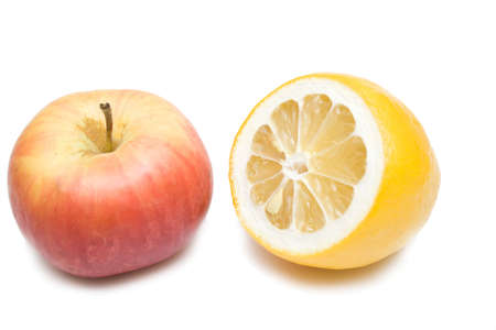 apple and lemon on the whie isolated background photo