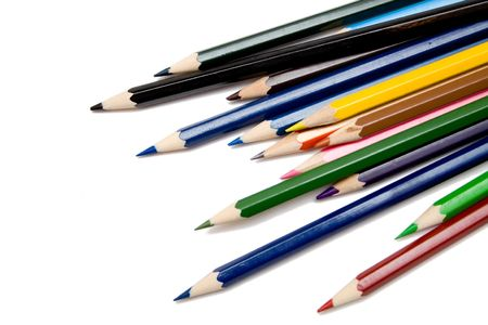 whie: multicolored pencils on the whie isolated background
