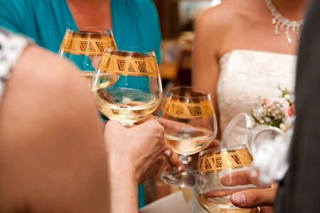 people drink champign on wedding photo