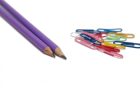 pencils and clips isolated on white Stock Photo - 3610682