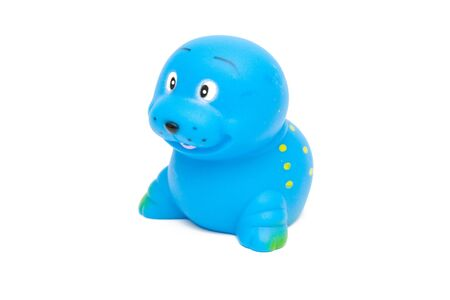 squeaky clean: blue seal toy isolated on white