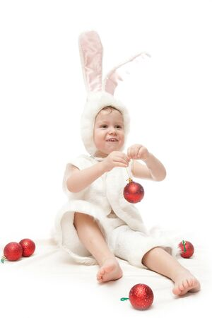 baby in rabbit costume isolated on white photo