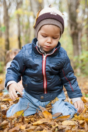 Little boy sitting on yellow autumn foliage, park. photo