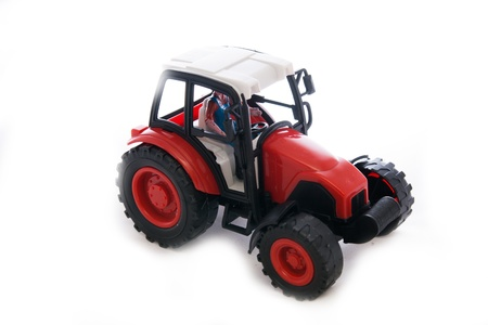 for children toys: Tractor red toy on white