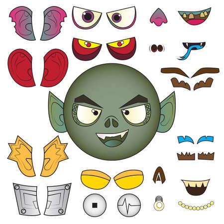 Monster head set Vector