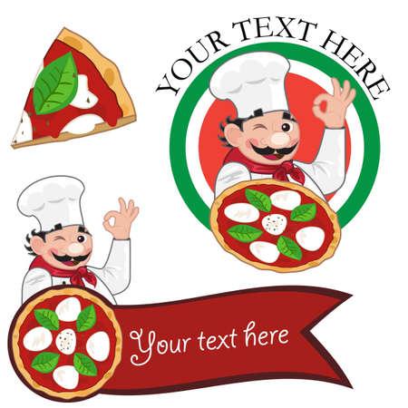 chef italiano: Conjunto de cocinero de pizza Vectores