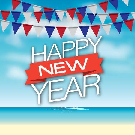 sea sky: illustration of sea sky and happy new year text. Stock Photo