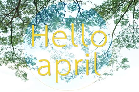 Hello april on orange text over gradient leaves