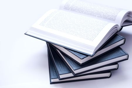Books conceptual image. Books on lying. Stock Photo