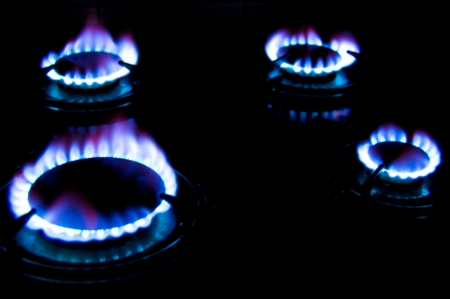 Gas flame. Picture of gas flames in darkness. Standard-Bild