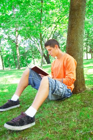 Education conceptual image. Teenager reading a book outdoors. Stock Photo - 7627121