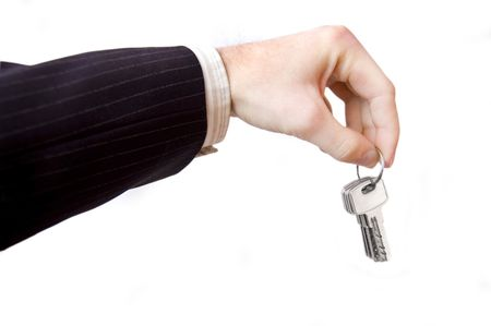 Hand and key conceptual image. Businessman hold the keys. photo