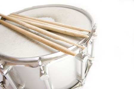 Drums conceptual image. Broken sticks lies on snare. Stock Photo
