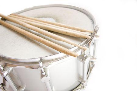 Drums conceptual image. Broken sticks lies on snare. Standard-Bild