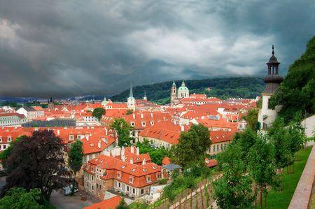 Panorama of Prague during a storm.