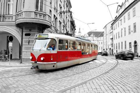 Old tram on Prague street. Editorial
