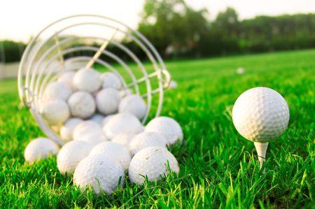 Golf game. Golf balls in grass. Stock Photo - 7971720
