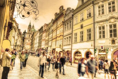prague: Crowd of people in streets of Prague. Stock Photo