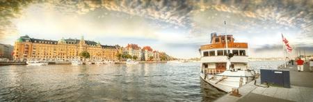 Scandinavia. Panorama of port in Stockholm. Editorial