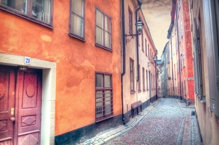 Architecture. Charming street of Stockholm. Editorial