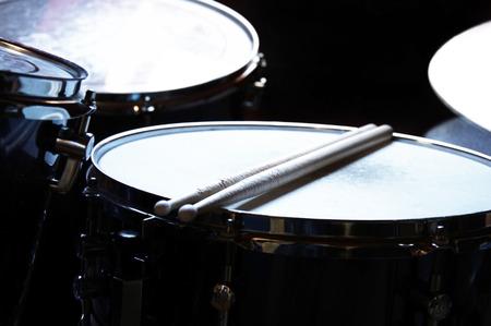Drums conceptual image. Snare drum and stick. Standard-Bild