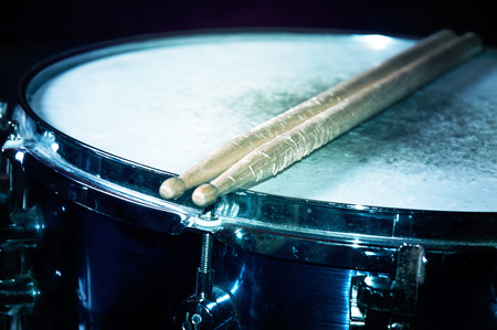 snare: Drums conceptual image. Snare drum and stick. Stock Photo