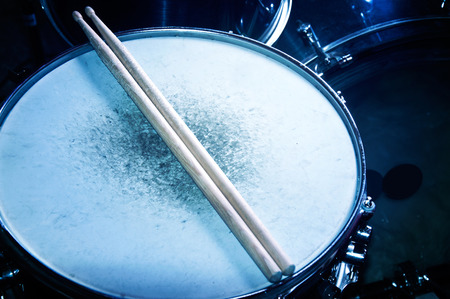 Drums conceptual image. Snare drum and stick. Stock Photo