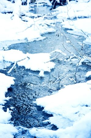 Winter conceptual image. Winter stream with icy water.