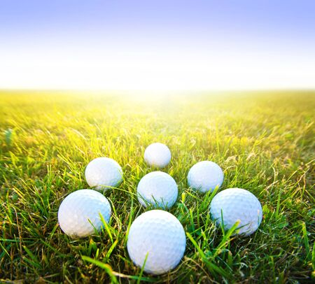 golf ball: Golf game. Golf balls in grass. Stock Photo