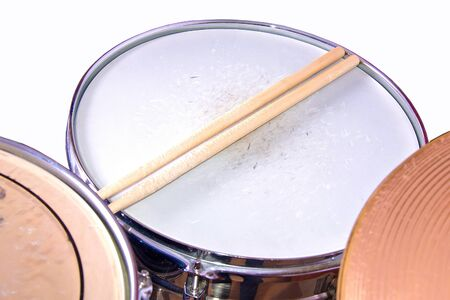 snare: Music conceptual image. Drum snare on isolated background. Stock Photo