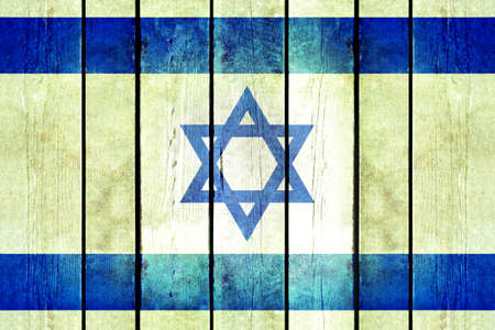 flag of israel: Israel wooden grunge flag. Israel flag painted on the old wooden planks. Vintage retro picture from my collection of flags.