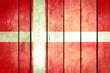 denmark flag: Denmark wooden grunge flag. Denmark flag painted on the old wooden planks. Vintage retro picture from my collection of flags. Stock Photo