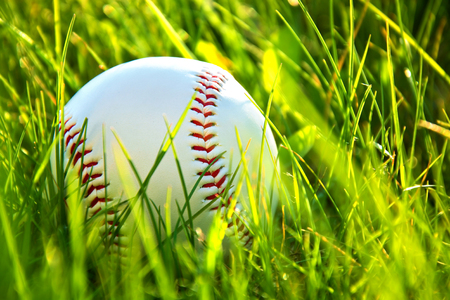 outfield: Baseball game. Baseball ball in grass.