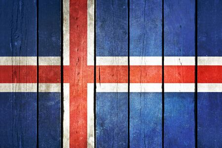 iceland flag: Iceland wooden grunge flag. Iceland flag painted on the old wooden planks. Vintage retro picture from my collection of flags.