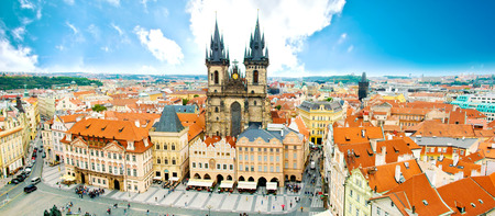 Monuments of Prague. Old Town with Tyn Church and on square. Stock Photo