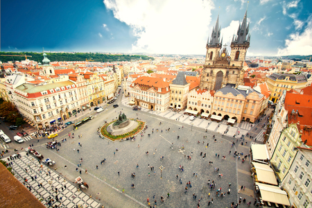 tynsky church: Monuments of Prague. Old Town with Tyn Church and Jan Hus Memorial on square.
