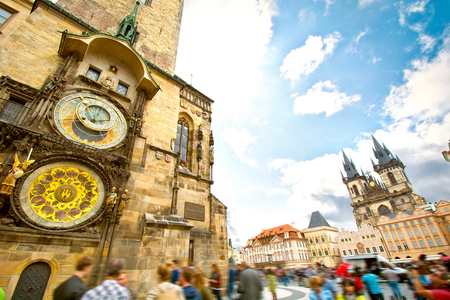 Monuments of Prague. Old Town Hall with Orloj Astronomical Clock and Tyn Church. Stock Photo