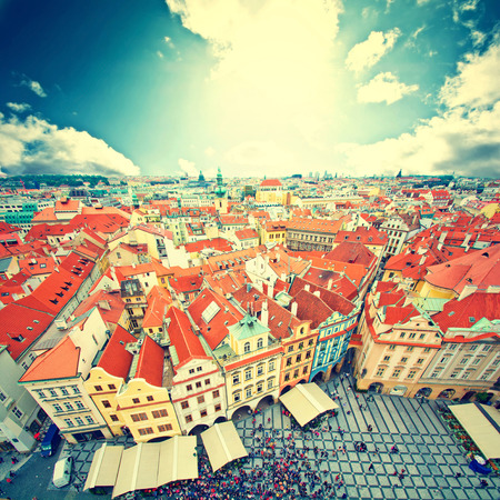 tynsky church: Prague. Old Town. View on many tourists seen from Old Town City Hall.  European city concept. Vintage picture. Stock Photo
