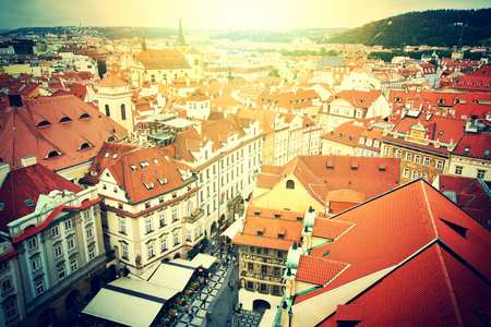 tynsky church: Prague. Old Town. View from Old Town City Hall.  European city concept. Vintage picture. Stock Photo