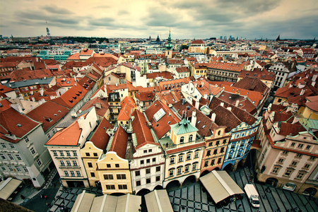 Prague. Old Town. View from Old Town City Hall.  European city concept.