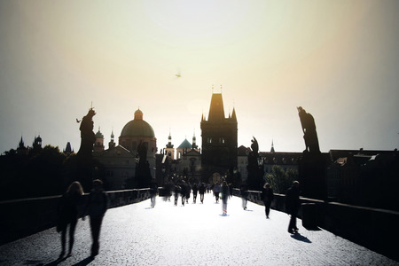 charles bridge: People on Charles Bridge in Prague. European city concept.