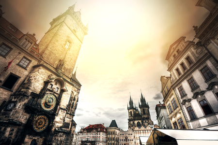 tynsky church: Old Town Hall with Orloj Astronomical Clock in Prague. Monuments of Prague.
