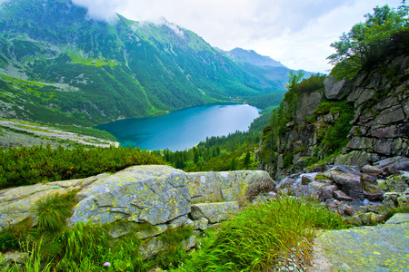 Lake in mountains. Morskie Oko in Tatry. Stock Photo