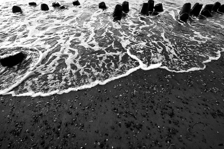 Sea ocean waves in black and white colors. Stock Photo