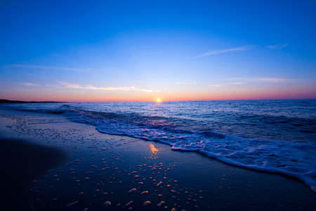 Sunset over sea. Blue nature fantasy marine landscape. Stock Photo