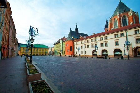 Small market square in Cracow, Poland. Kraków.