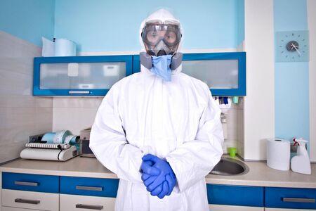 Doctor in protective suit uniform and mask. Coronavirus outbreak. Covid-19 concept. Standard-Bild